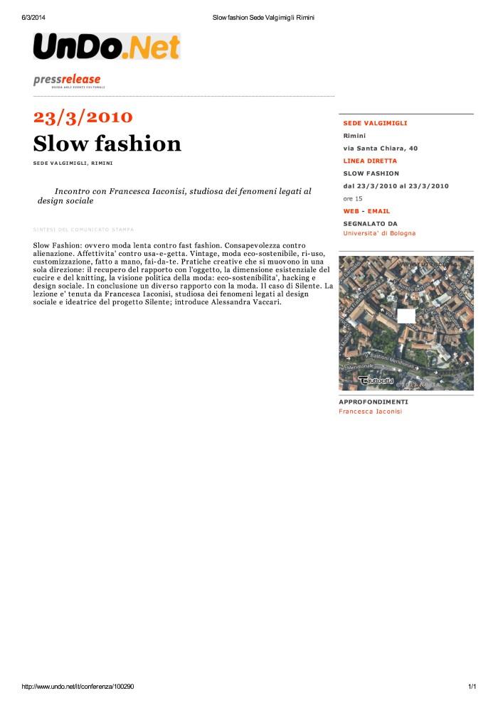 Slow fashion Sede Valgimigli Rimini