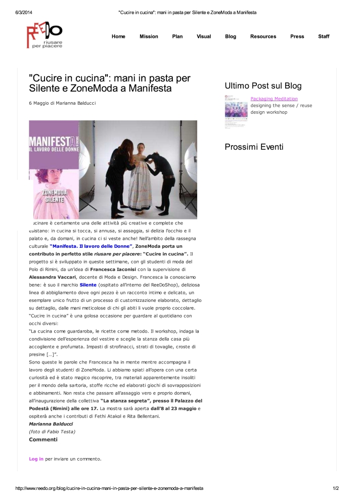 """""""Cucire in cucina"""": mani... e ZoneModa a Manifesta"""