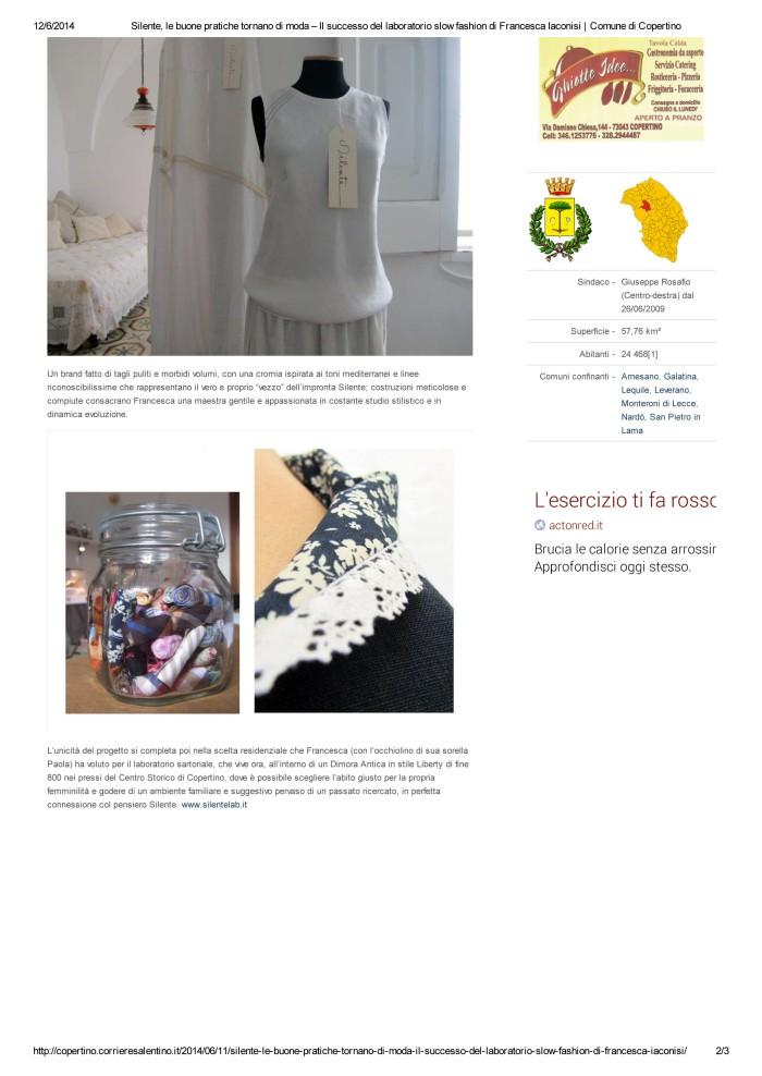 Silente, le buone pratiche tornano di moda – Il successo del laboratorio slow fashion di Francesca Iaconisi _ Comune di Copertino-2